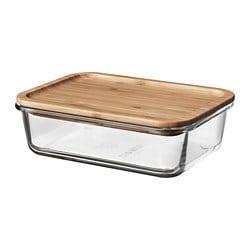ИКЕА IKEA 365+, Контейнер для пищевых продуктов с крышкой, 092.690.65, прямоугольное стекло, бамбуковое стекло, 1,0 л