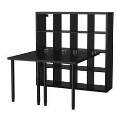 ИКЕА KALLAX, стол письменный, 891.230.88, Черно-коричневый, 147x147x159 см