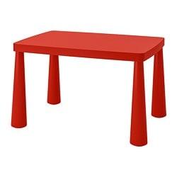 ИКЕА MAMMUT, Детский стол, 603.651.67, внутрь / наружу красный, 77 х 55 см