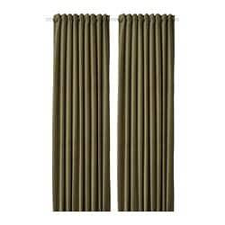 ИКЕА SANELA, Шторы плотные, 1 пара, 904.800.76, оливковый, 140x300 см