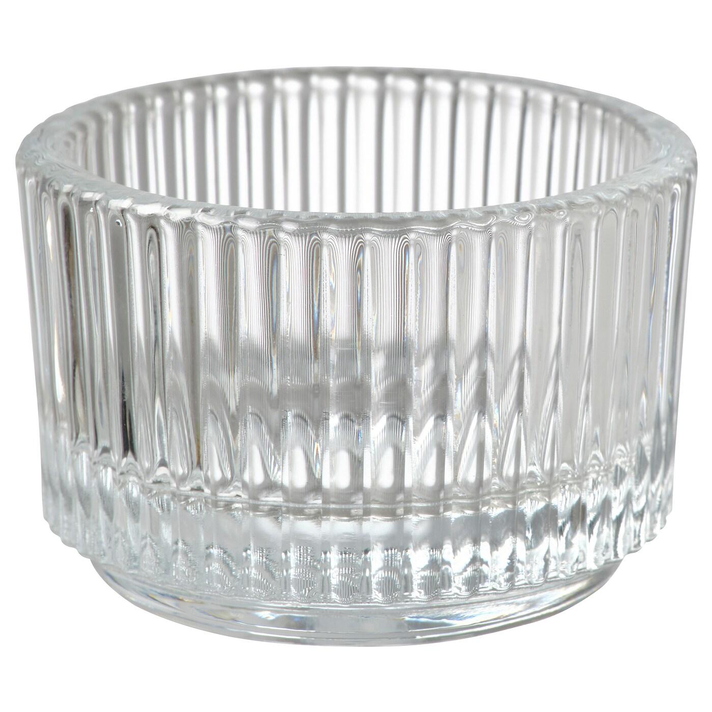 ИКЕА  , Держатель чайной свечи, 004.709.82, Чистое стекло, 3,5 см
