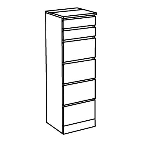 ИКЕА MALM, Комод с 6 ящиками, 204.035.95, дубовый шпон, беленый, зеркало, 40x123 см