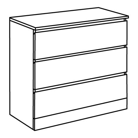 ИКЕА MALM, Комод с 3 ящиками, 704.240.53, глянцевый белый белый, 80x78 см