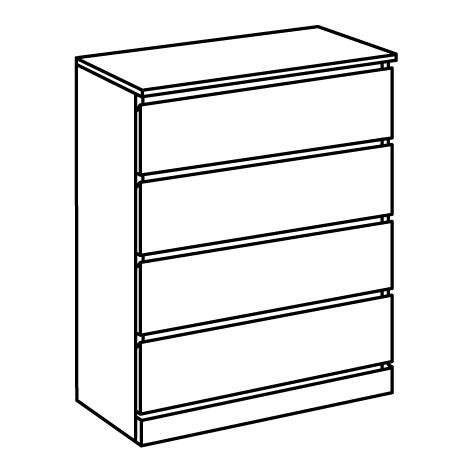 ИКЕА MALM, Комод с 4 ящиками, 504.240.54, глянцевый белый белый, 80x100 см