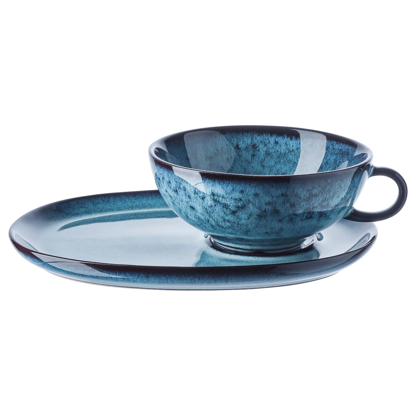 ИКЕА VINTERFEST, Чашка с блюдцем, 204.330.26, синий, 37 сл